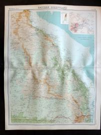 Bartholomew 1922 Large Map. Australia, Eastern Queensland.